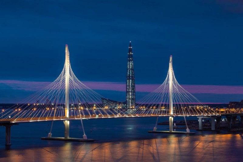 """Construction of overpass interchanges in the Lakhta Center district"""""""